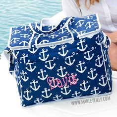 Monogrammed Navy Anchors Large Cooler Bag | Summer | Marley Lilly