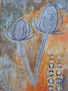 Teasels. Mixed media paint and collages papers. Box lid.