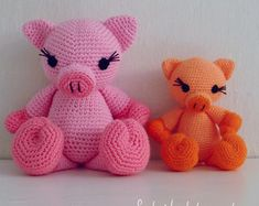 Crochet Amigurumi Crochet Pattern Pig - Piggy and Pig amigurumi Toy crochet pattern - Instant Downlo Crochet Pig, Love Crochet, Crochet Toys, Crochet Purse Patterns, Crochet Doll Pattern, Kids Patterns, Amigurumi Toys, Knitting, Etsy