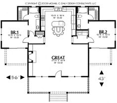 Best Barndominium Floor Plans For Planning Your Barndominium House 2 Bedroom House Plans, Cottage Floor Plans, Cottage House Plans, Dream House Plans, Small House Plans, Cottage Homes, House Floor Plans, Small Floor Plans, The Plan