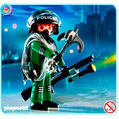 Playmobil Loose Minifigure Police Officer With Riot Shield