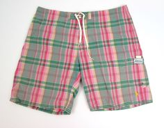 Men's Ralph Lauren Pink Plaid Swim Trunks Swimwear Drawstring Pony Size 34 #RalphLauren #SwimBriefs