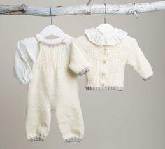 Sticka vårt klassiska babyset med kofta, hängselbyxa, sockor och mössa. Roligt att ge och uppskattat att få. Baby Knitting Patterns, Ted, Lace, Sweaters, Inspiration, Fashion, Children, Biblical Inspiration, Moda