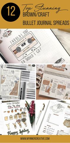 The most amazing brown and craft paper bullet journal spreads!
