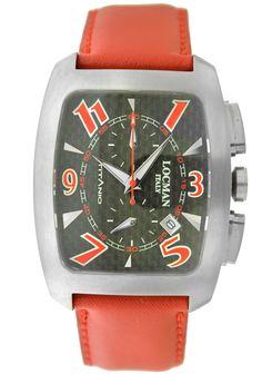 locman mens stainless steel black dial automatic watch products locman titanio tonneau chronograph black carbon fiber dial red leather strap men s watch