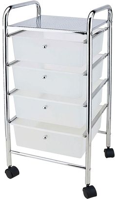4 Drawer Trolley White Kitchen Food Storage Tier Unit Shelves By Home Discount  | eBay