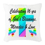 BLESSED 16 YR OLD Burlap Throw Pillow http://www.cafepress.com/jlporiginals/12479206 #16thbirthday #16yearsold #Happy16thbirthday #16thbirthdaygift #sweet16  #Christian16th