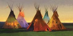 R. Tom Gilleon IN THE SHADOW OF THE SIXTH, Tipi, Giclee Canvas #1/40 #Realism