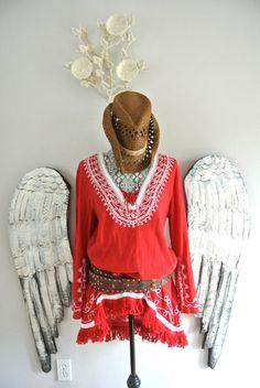 Boho tunic top, red hippie chic shirt, bohemian clothing, Vintage 80s, red, gauze, womens clothing, true rebel clothing