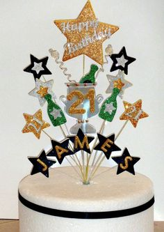 60th Birthday Beer Pint Glass Precut Edible Cupcake Toppers Cake Decorations