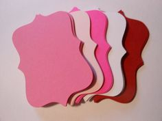 25 Count Valentine's Colors Top Notes/Brackets/Labels Assorted Pinks, Red, and White on Etsy, $1.25