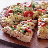 Breakfast Pizza...lighter version...would definetely use REAL eggs and if I wanted to add a few calories would mix up a packet of country gravy and use that for my pizza sauce lol ;-)