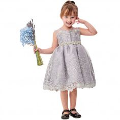 b431a5869fe04 Little Girls Silver Flower Embroidery Ribbon Special Occasion Dress 2-6  Junior Bridesmaid Dresses