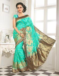 Aqua Banarasi Silk Saree With Blouse 64059