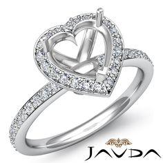 Diamond Engagement Heart Ring 18K White Gold Halo Pave Setting Semi Mount 1ct | eBay