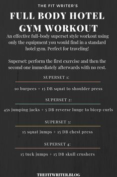 #WorkoutWednesday • The Fit Writer Travel/Hotel Gym Workout!