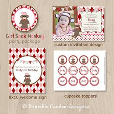 Girl Sock Monkey Birthday Party Package  DIY by printablecandee, $30.00