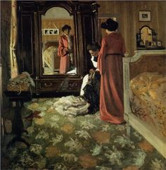 Interior, Bedroom with Two Figures - Felix Vallotton