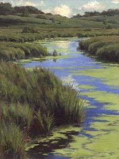A marshy stream runs through the prairie in this landscape painting as the breeze blows the duckweed into interesting patterns. By Jason Tako