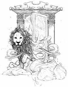 Narnia wardrobe sketch by kevinblasius. Narnia Wardrobe, Illustrations, Illustration Art, Cair Paravel, Chronicles Of Narnia, Cs Lewis, Tolkien, Lions, Fantasy Art