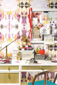 The Chicest Wallpapers as Chosen by Harper's Bazaar. Kinda digging this ikat print, but maybe a few changes to the tones.