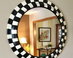 Whimsical Painted mirror round black and white checked mirror, wall mirror hand painted home decor,painted round wall mirror Painted Bar Stools, White Bar Stools, Black Painted Furniture, Whimsical Painted Furniture, Painting Furniture, Round Wall Mirror, Round Mirrors, Mirror Mirror, Mirror House