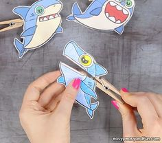 Shark Clothespin Puppets - Easy Peasy and Fun Summer Crafts For Kids, Paper Crafts For Kids, Crafts To Do, Shark Week Crafts, Plane Crafts, Nursery Activities, Craft Activities For Kids, Craft Ideas, Shark Puppet