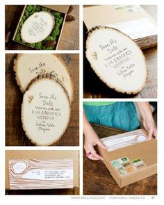 Save the Date Stamp onto Wood Ring. Concept by Mélangerie Inc. featured in Nonpareil issue #6