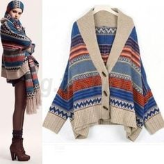 BOHO Women's Batwing Cardigan Knit Sweater Buttons Ponchos Ladies Tops Cape S-M