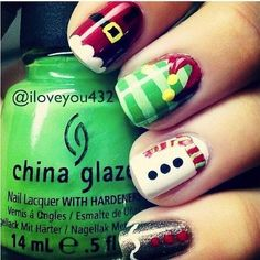 A manicure is a cosmetic elegance therapy for the finger nails and hands. A manicure could deal with just the hands, just the nails, or Santa Nails, Xmas Nails, Christmas Manicure, Disney Christmas Nails, Christmas Holidays, Simple Christmas, Christmas Tree Nail Art, Christmas Outfits, Christmas Things