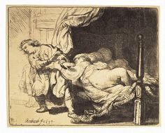Joseph and Potiphar's Wife - Rembrandt Harmenszoon van Rijn | Art Prints, Etching