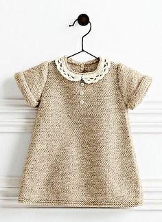 Ravelry: 782 - Lace Collar Dress pattern by Bergère de France - Kinder Kleidung Ravelry, Lace Knitting Patterns, Dress Patterns, Sweater Patterns, Clothing Patterns, Lace Collar, Collar Dress, Knitting For Kids, Baby Knitting