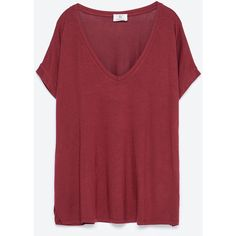 Zara Square Cut T-Shirt ($13) ❤ liked on Polyvore featuring tops, t-shirts, burgundy, red t shirt, burgundy t shirt, zara top, red top and zara t shirts