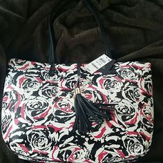 INC International Concepts Beautiful pink, white, roses, on tote. Large tote bag. INC International Concepts Bags Totes