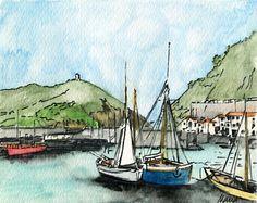 Ilustración acuarela Puerto de San Sebastián