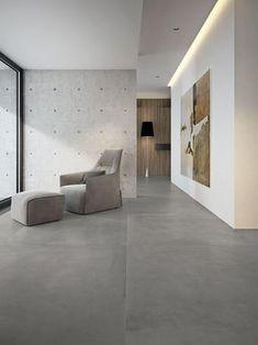 Grande concrete look - Imitation Béton - Salon Grey Floor Tiles, Grey Flooring, Large Floor Tiles, Modern Floor Tiles, Modern Flooring, Floors, Home Interior Design, Interior Architecture, Concrete Look Tile