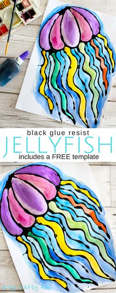 Jelly Fish Our Black Glue Jellyfish Art works well within an under the sea theme. An easy art idea for kids that uses resist techniques to create colourful fishy art. Watercolor Jellyfish, Jellyfish Art, Easy Art Projects, Projects For Kids, Art Projects For Kindergarteners, Summer Art Projects, Kindergarten Art Projects, Under The Sea Theme, Under The Sea Crafts
