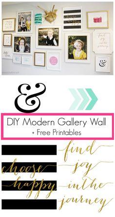 DIY Modern Gallery Wall + Free Printables | www.classyclutter.net #printable #gallerywall