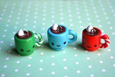 Kawaii Christmas Hot Chocolate Mug Charm on Etsy, $5.00