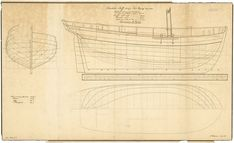 'Charlotte Skiff' (1808), Scale: 1:24. A plan showing the body plan, sheer lines with inboard detail, and deck plan for 'Charlotte Skiff' (1808), a cutter built for John Berry. Signed by George Hilhouse [Shipbuilder and Merchant], possibly drawn by him as well].