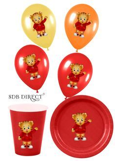 Daniel Tiger Birthday Plates | Cute Daniel Tiger Digital Balloon, Plate, Cup, Treat Box Stickers, DIY ...