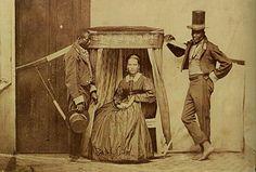 Escravos carregavam senhora na então província de São Paulo, por volta de 1860.