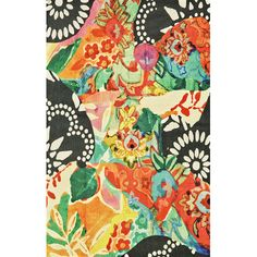 Bring garden-chic appeal to your patio or sunroom with this bright woven rug, showcasing an abstract floral motif.   Product: R...
