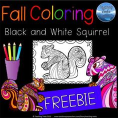 FREE Fall squirrel coloring!