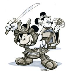 samurai mickey and geisha minnie :D