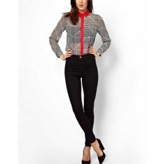 Black Stripe Triangle Design Chiffon Shirt @ Womens shirts & blouse:women shirts,cheap button down shirts,long sleeve shirts,blouses,cheap blouse,womens denim shirts,fashion blouse,sexy shirt,collar shirt,v neck blouse,polo shirt,floral print shirt at maykool.com