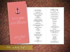 Nautical themed ceremony programs from The Inked Leaf on Etsy.  #DIY #Easy #Wedding Program #PDF