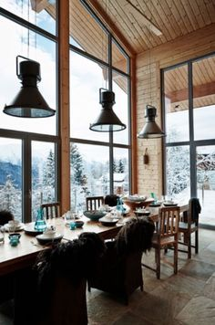 "This dining area with a spectaculair view is from our feature ""Chalet Chic"""