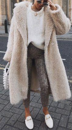 b4d5b96042c Fashion Lapel Collar Long Faux Fur Coat