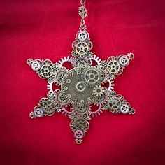Excited to share this item from my shop: Steampunk Snowflake Gears and Filigree Christmas Ornament Diy Christmas Snowflakes, Christmas Clock, Snowflake Craft, Classy Christmas, Snowflake Decorations, Christmas Crafts, Christmas Decorations, Steampunk Crafts, Steam Punk Jewelry